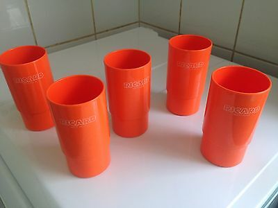 collection 5 verres Ricard Années 70's Camping Caravaning Vintage Plastic Orange