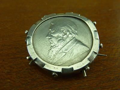 Vintage South Africa one shilling coin 1894  in silver hallmarked frame brooch