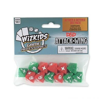 D&d Attack Wing - Attack & Defense Dice Pack - Wizkids Heroclix - 12 Dices