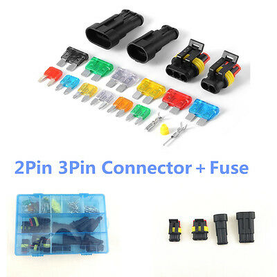 1 Set 2Pin 3Pin Car Waterproof Electrical Terminal Wire Connector+Fuse With Box