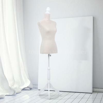 Female Mannequin Dress Body Form beige Color W/ Simple Cover Tripod Wooden Base