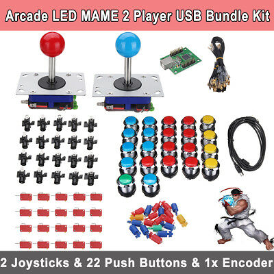 Arcade LED MAME 2 Player USB Bundle Kit w/ 2 Joysticks 4&8 way & 20 Push Buttons