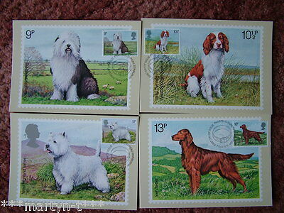 PHQ Stamp cards FDI (Front) No 33 British Dogs 1979. 4 card set. Mint Condition