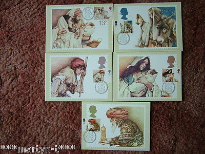 PHQ Stamp card set FDI Front No 80 Christmas 1984. 5 card set.  Mint Condition.