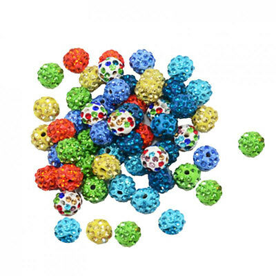 50pcs Diamante Crystal Pave Clay Ball Spacer Beads for Jewelry Making 10mm