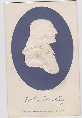 Epworth John Wesley Wedgwood Relief Portrait Unposted Foxing Marks