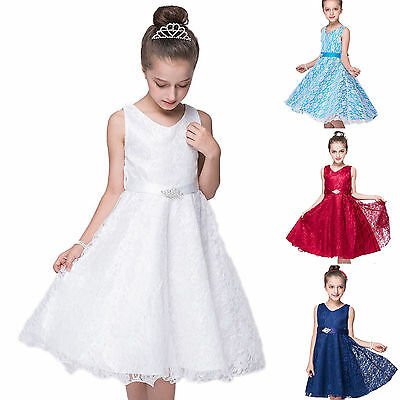 Flower Girls Dress Lace Vintage Princess Formal Pageant Wedding Birthday Party