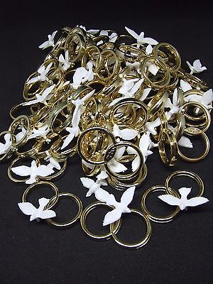 Culpitt Double Wedding Rings in Gold With White Dove Cake Topper X10 (Dove3)