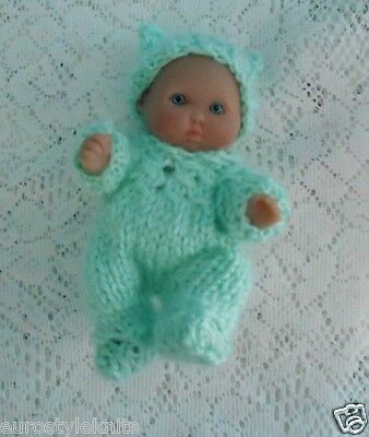 """Doll Clothes Mint Green Hand-Knitted Sleeper footed fit Berenguer Baby 5"""" ooak 6"""