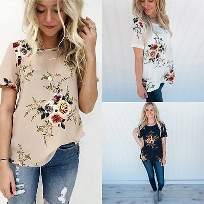 Women Loose Short Sleeve Cotton Casual Blouse Shirt Tops  Floral  Summer T-shirt