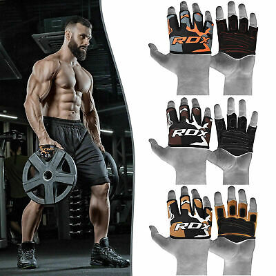 RDX Leather Weight Lifting Grips Hand Palm Support Training Gym Straps Gloves G4