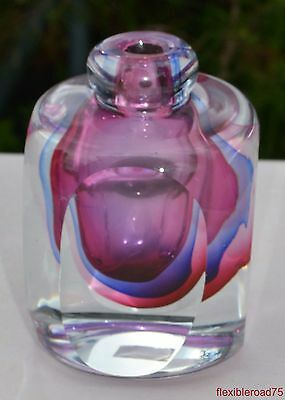 FIFTH AVENUE CRYSTAL Square Weed Vase Perfume Bottle Purple/Pink Handcrafted