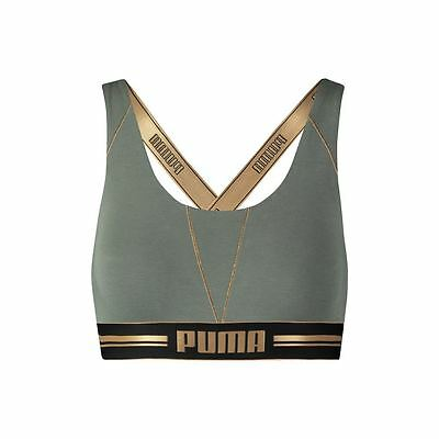 Ladies Womens Puma Gold Logo Cross Back Sports Bra Top Olive/Gold