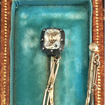 Victorian 9ct, 9k, 375 Gold & Silver Paste stick pin / cloak pin in Antique box