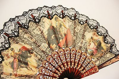 Vintage Lace Pierced Fan - Spanish Matador Bullfight - Souvenir - Kitch