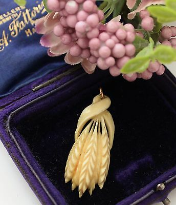VICTORIAN / EDWARDIAN Carved Bovine Bone Wheat Sheaf Pendant - Beautiful !