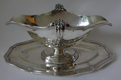 An antique French DOUBLE ENDED SOLID SILVER SAUCE BOAT c1890 G Keller 24 tr oz