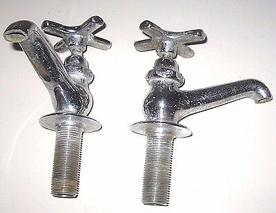 Vintage Bathroom Sink FAUCET Pair HOT&COLD Chrome over Solid Brass Cross Handles