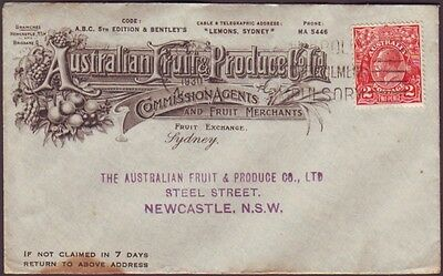 """1930 ADVERTISING COVER """"AUSTRALIAN FRUIT AND PRODUCE CO LTD"""" WITH 2d KGV STAMP"""