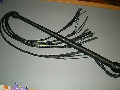 """USA Hand crafted Genuine Leather Quirt, 38"""" Black 5 Lash Quirt, Unisex"""