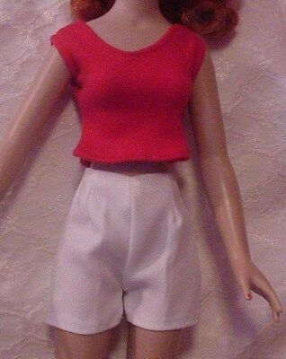 """White Shorts and Red Blouse for 18"""" Kitty Collier or Miss Seventeen"""