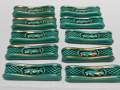 10 french MAJOLICA GREEN & GOLD knife rests holders with FISH on