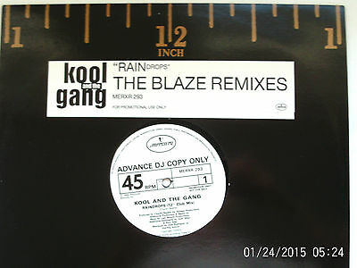 "Kool And The Gang Raindrops - The Blaze Remixes 12"" Promo Single 1989 N/mint"