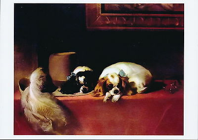 Landseer Print Animals Canine Toy Dog Breed Cavalier King Charles Spaniel Dogs