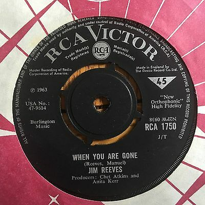 """Jim Reeves - When You Are Gone UK 1968 7"""" RCA Victor Records"""