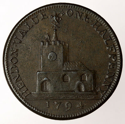 1794 Hendon Halfpenny ~ D&H325 Middlesex ~ David Garrick Esq