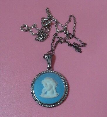 Wedgwood Jasper Ware NECKLACE Sterling Silver Classical head
