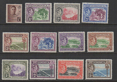 1938 Dominica SG101/108 part set to 5/- lightly mounted mint.