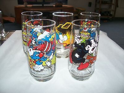 5 VTG Smurf Promo Character Glasses/Tumblers ~ Peyo~Wallace Berry Co.~1982 &'83