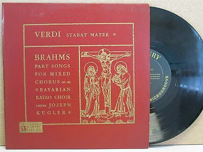 "MG 15011- VERDI Stabat Mater/BRAHMS Part Songs 10"" LP (JOSEPH KUGLER) RARE"