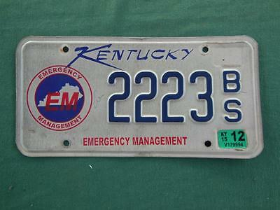2012 Kentucky 2223Bs Emergency Management License Plate Rescue Automobile Garage