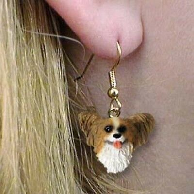 Dangle French Wire PAPILLON BROWN Dangle Dog Head Earrings