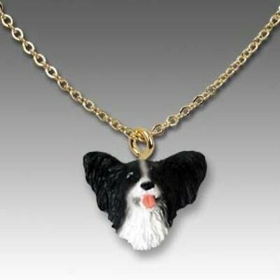 Dog on Chain PAPILLON BLACK Dog Head Necklace