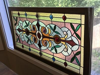 ANTIQUE STAINED GLASS WINDOW ca. 1880 EAST LOS ANGELES  BOYLE HEIGHTS 25 JEWELS