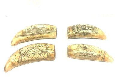 Qty of  (4) Scrimshaw Reproduction Whale Teeth