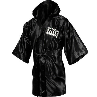 Title Boxing Full Length Stock Satin Robe - XL - Black