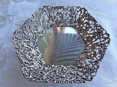 Antique Campbell Metcalf Sterling Silver Pierced Floral Scroll Bon Bon Bowl
