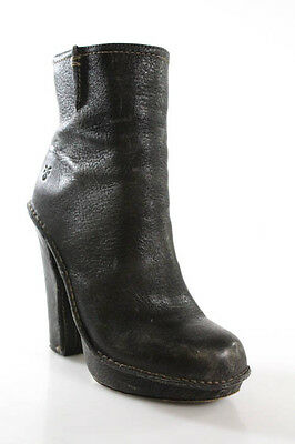 Frye Black Leather Zip Up High Block Heel Round Toe Ankle Boots Size 7