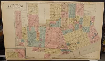 Illinois White Side County Map Sterling East & West Part 1912 2 Maps  Z6#71