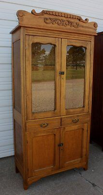 Antique Solid Maple Wood Kitchen China Dish Cupboard Cabinet w Glass Shelves OLD