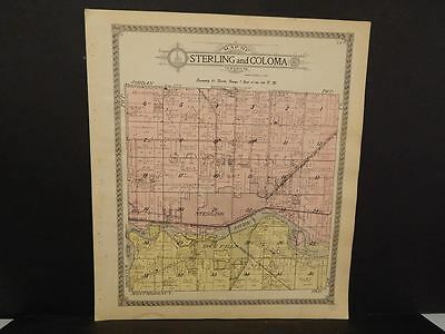 Illinois Whiteside County Map Sterling Coloma Township 1912  Z6#84