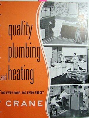 1950 CRANE Co Quality HOME Plumbing HEATING Boiler Uses ASBESTOS Vintage Catalog