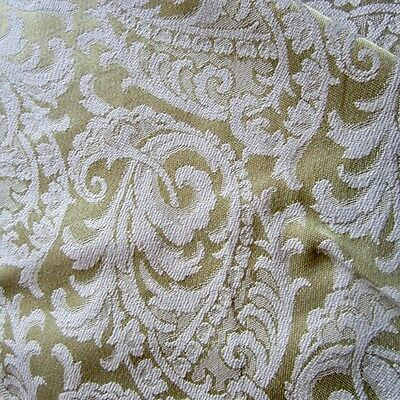 Vintage Curtain Fabric 1960S Mid Century Retro Damask Swirly Feather Leaf Yellow