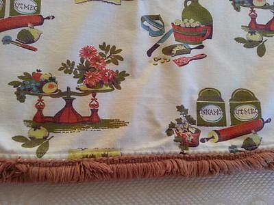 Vtg 1960s Fringed Printed Kitchen Table Topper Center Cloth SPICES HERBS Basket