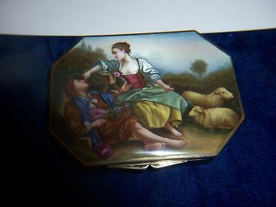 Vintage Antique Sterling Enamel Courting Scene Compact Case