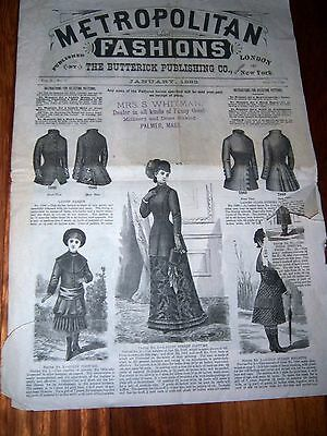 Vtg. METROPOLITAN FASHIONS Jan1882 Butterick Publishing Victorian Dress Patterns